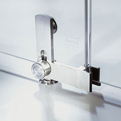 Glass mounting and locking devices integrated in one functional unit